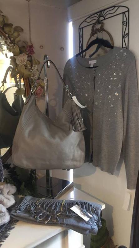 Michael Kors gray purse, $110.00, Charter Club sweater medium gray, $28.00, pashmina scarfs, gray print, we have many colors, $24.00