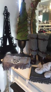 Cole Haan Boots, size 9.5, gray/brown, $110 - silver pearl necklace $28.00