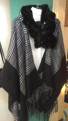 "Poncho black/white check, $26.00 - Faux Fur collar ""new"" $30.00 ( we have many different colors)"